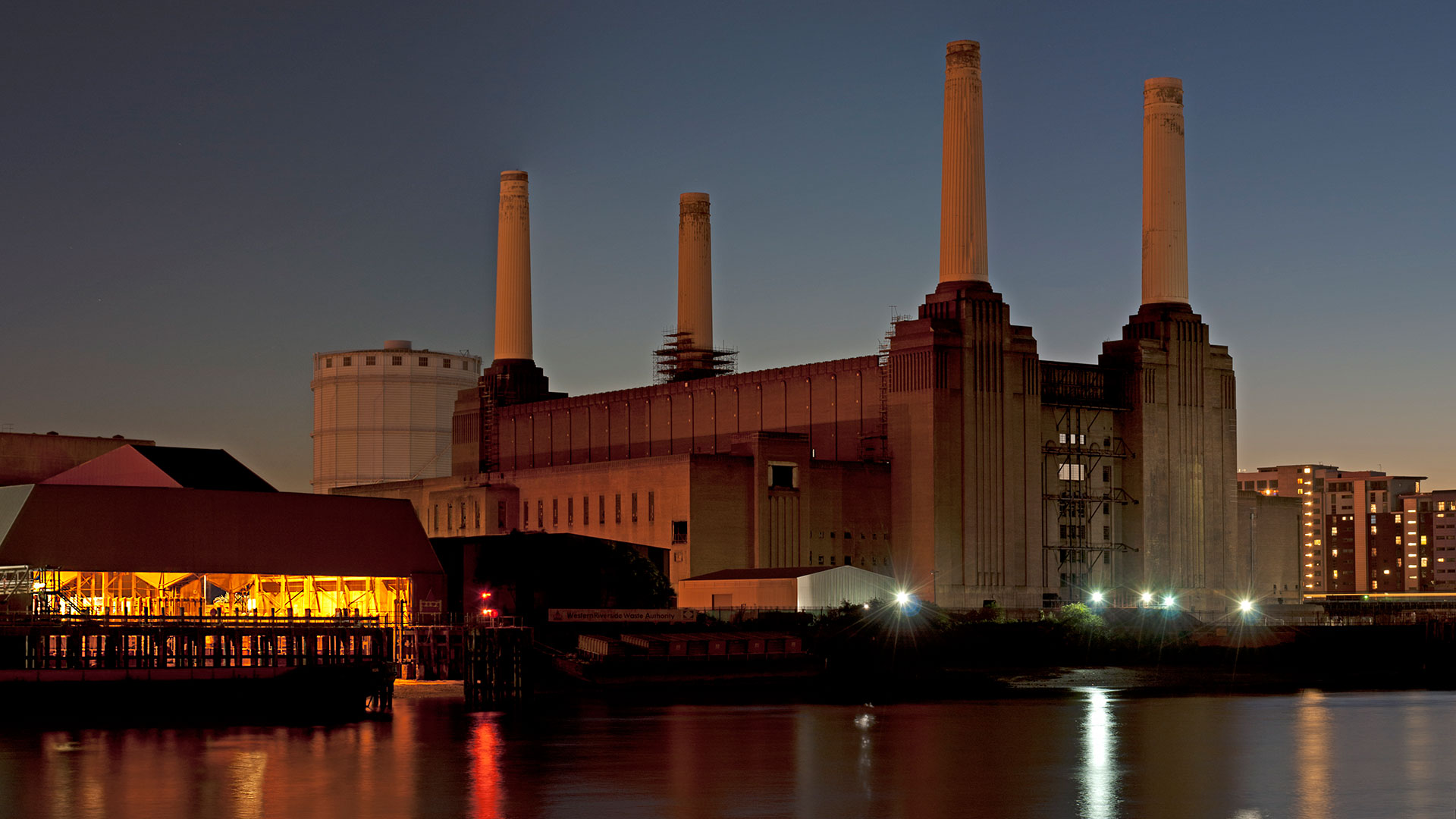 Night view of Battersea Power station in London